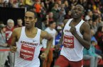 Arkansas runners Kemoy Campbell (left) and Patrick Rono compete Friday, Jan. 16, 2015, at Randal Tyson Track Center in Fayetteville.