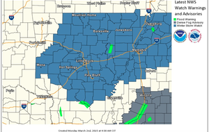 This National Weather Service graphic shows in blue counties set to go under a winter storm watch on Wednesday.