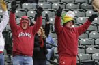 A small but enthusiastic crowd calls the Hogs Monday March 2, 2015, during the baseball Razorbacks game against Eastern Illinois University. The Hogs' baseball game scheduled for Wednesday has been cancelled due to expected winter weather.