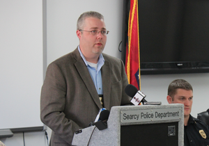 FILE — Searcy police chief Jeremy Clark speaks at a Nov. 24, 2014 news conference.