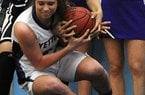 NWA Democrat-Gazette/ J.T. WAMPLER -- Fayetteville's Sydney Crockett and Little Rock Central's Kiara Williams fight for possession Monday March 9, 2015 at the semi-finals of the 7A State Basketball Tournament held at Har-Ber High School in Springdale.