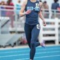 Amanda Dillon, Springdale Har-Ber senior, finishes the 400-meter race March 12 during the Springdale...