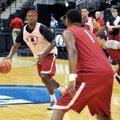 University of Arkansas Razorbacks forward Bobby Portis runs drills with his team Wednesday evening d...