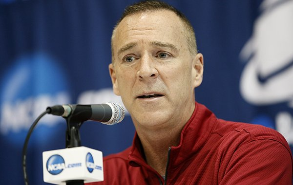 Arkansas head coach Jimmy Dykes responds to a question during a news conference for the second round of the NCAA women's college basketball tournament, Saturday, March 21, 2015, in Waco, Texas. Arkansas plays Baylor on Sunday. (AP Photo/Tony Gutierrez)