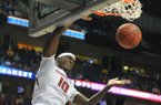 Arkansas forward Bobby Portis goes up for the dunk in first half against Tennessee in the 2015 SEC basketball tournament on Friday, March 13, 2015, at Bridgestone Arena in Nashville.