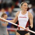 Arkansas' Sandi Morris broke the college outdoor pole vault record Saturday by clearing 15 feet, 1 3...