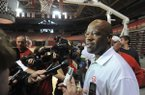 Arkansas coach Mike Anderson speaks to reporters on Wednesday, April 15, 2015, at Bud Walton Arena in Fayetteville.