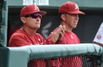 Arkansas coach Dave Van Horn watches his team from the dugout during the Stephen F. Austin game Wednesday, April 15, 2015, at Baum Stadium.