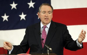 In this April 18, 2015, file photo, former Arkansas Republican Gov. Mike Huckabee speaks at the Republican Leadership Summit in Nashua, N.H.