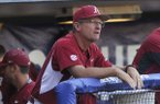 Arkansas coach Dave Van Horn watches from the dugout during a game against Florida on Friday, May 22, 2015, at Hoover Metropolitan Stadium in Hoover, Ala.