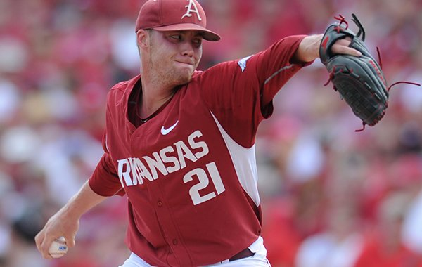 Starter Trey Killian of Arkansas delivers a pitch Friday, June 5, 2015, against Missouri State during the first inning of the Super Regional at Baum Stadium in Fayetteville.