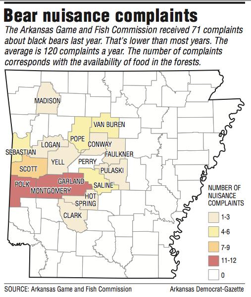 Arkansas bear population map for Arkansas game and fish forecast