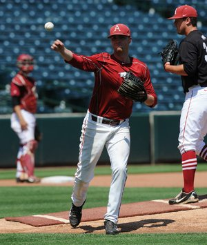 Arkansas pitcher Trey Killian throws to first Thursday, June 4, 2015 ...
