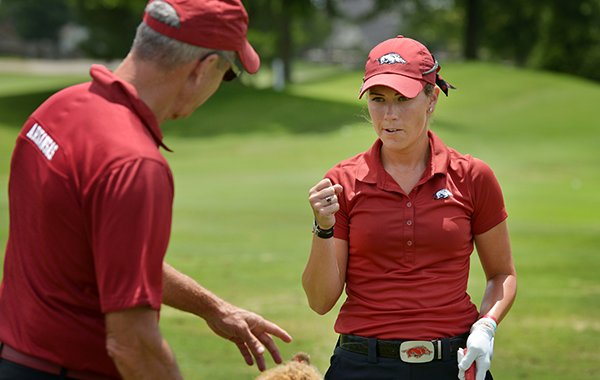 Arkansas golfer Samantha Marks talks with her father, Roger Marks, prior to the qualifier for the LPGA Walmart NW Arkansas Championship on Monday, June 22, 2015, at Pinnacle Country Club in Rogers.