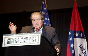 U. S. Supreme Court Associate Justice Antonin Scalia speaks as part of the first of three presentations in the Winthrop Paul Rockefeller Distinguished Lecture Series on Thursday, Feb. 26, 2015, inside the Fort Smith Convention Center. The U.S. Marshal's Service confirmed that Scalia has died at the age of 79.