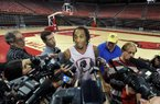University of Arkansas basketball player Michael Qualls talks to the media Wednesday evening at Bud Walton Arena in Fayetteville after announcing that he will be entering the NBA draft.