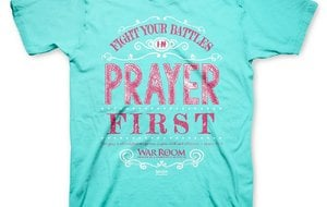 Kerusso's product line for War Room includes T-shirts for men and women with biblical references to prayer.