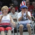 Rita and Michael Callahan of Bella Vista show their appreciation Saturday during the annual Fourth o...
