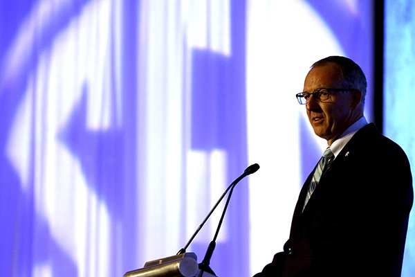 SEC Commissioner Greg Sankey speaks during the Southeastern Conference NCAA college football media days, Monday, July 13, 2015, in Hoover, Ala. (AP Photo/Butch Dill)