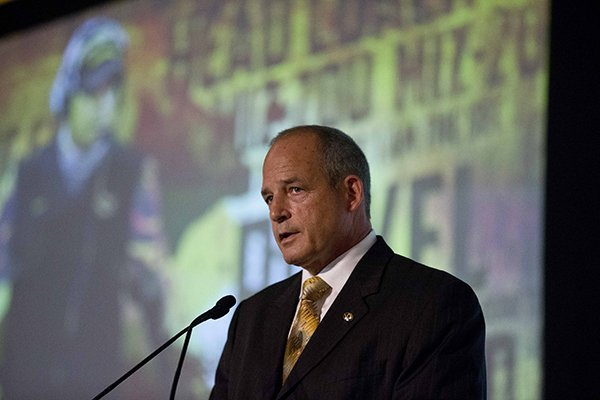 Missouri coach Gary Pinkel speaks to the media at the Southeastern Conference NCAA college football media days, Wednesday, July 15, 2015, in Hoover, Ala. (AP Photo/Brynn Anderson)