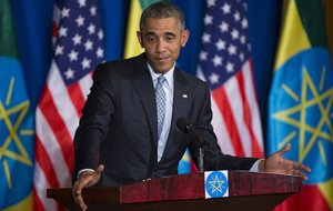 President Barack Obama gestures during a joint news conference with Ethiopian Prime Minister Hailemariam Desalegn on Monday, July 27, 2015, at the National Palace in Addis Ababa. Obama is the first sitting U.S. president to visit Ethiopia.