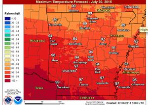 Heat advisory set for south Arkansas