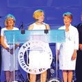 Marcy Doderer (center), president and CEO of Arkansas Children's Hospital, announces Friday a gift o...