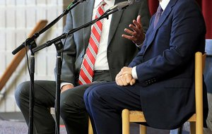 """Skip Rutherford (left) and Mack McLarty swap stories on the radio show """"Tales from the South"""" about their lives during the years of the Clinton presidency Sunday at Pulaski Heights United Methodist Church in Little Rock."""
