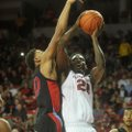 Former Arkansas forward Jacorey Williams (right), suspended with two others earlier this year in a f...