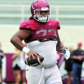 Arkansas offensive lineman Sebastian Tretola has lost more than 50 pounds since arriving in Fayettev...