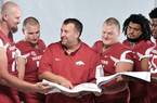 The first phase of Coach Bret Bielema's remodeling of the Arkansas football program was making sure there was a solid foundation, and he believes he has ac- complished that with a starting offensive line of (from left) tackle Dan Skipper, guard Frank Ragnow, center Mitch Smothers, guard Sebastian Tretola and tackle Denver Kirkland. Now, in year three, he's eager to see if the Razorbacks have enough other pieces in place to be a contender in the SEC West.