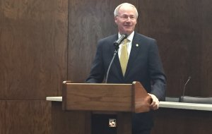 Gov. Asa Hutchinson outlines his higher education goals during a meeting of the Arkansas Department of Higher Education on Tuesday.