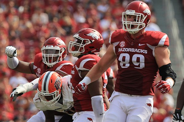 Arkansas' Mitchell Loewen (89) celebrates after making a tackle during a game against UPEP on Saturday, Sept. 5, 2015, at Razorback Stadium in Fayetteville.