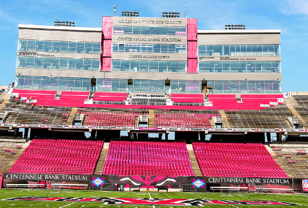 the johnny allison tower at centennial bank stadium in