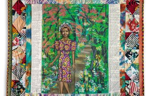 "Faith Ringgold ""Maya's Quilt of Life,"" 1989. Acrylic on canvas and painted, dyed and pieced fabrics. 73 x 73 in."