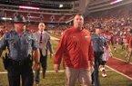 Arkansas coach Bret Bielema walks off the field following the Razorbacks' 35-24 loss to Texas Tech on Saturday, Sept. 19, 2015, at Razorback Stadium in Fayetteville.