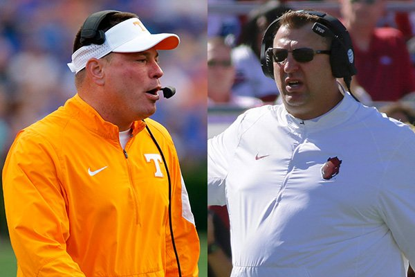 tennessee-coach-butch-jones-left-and-arkansas-coach-bret-bielema-are-off-to-a-rough-start-in-their-third-season-coaching-their-respective-programs-ap-photos