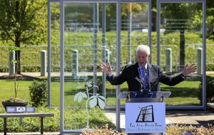 Former President Bill Clinton, speaking at Friday's opening ceremony for the Anne Frank sapling exhibit at the Clinton Presidential Center, said the teenager's life should be an inspiration.
