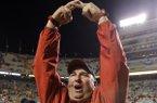 Arkansas head coach Brett Bielema celebrates after an NCAA college football game against Tennessee Saturday, Oct. 3, 2015 in Knoxville, Tenn. Arkansas won 24-20(AP Photo/Wade Payne)