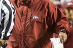 NWA Democrat-Gazette/JASON IVESTER  Arkansas head coach Bret Bielema talks with officials on Saturday, Oct. 3, 2015, during the game against Tennessee at Neyland Stadium in Knoxville, Tenn.