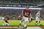 Alabama wide receiver Richard Mullaney (16) celebrates his touchdown pass during the second half of an NCAA college football game against Arkansas Saturday, Oct. 10, 2015, in Tuscaloosa, Ala. (Vasha Hunt/AL.com via AP)