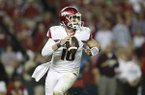 Arkansas quarterback Brandon Allen (10) sets back to pass the ball in the second half of an NCAA college football game, Saturday, Oct. 10, 2015, in Tuscaloosa, Ala. Alabama won 27-14.(AP Photo/Brynn Anderson)