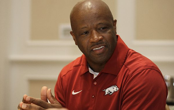 Arkansas head coach Mike Anderson answers a question during the Southeastern Conference men's NCAA college basketball media day in Charlotte, N.C., Wednesday, Oct. 21, 2015. (AP Photo/Chuck Burton)