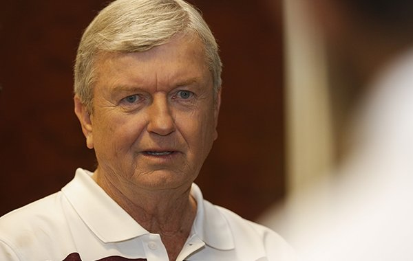 Texas A&M women's NCAA college basketball coach Gary Blair talks before he meets with the media during the Southeastern Conference women's media day in Charlotte, N.C., Thursday, Oct. 22, 2015. (AP Photo/Nell Redmond)