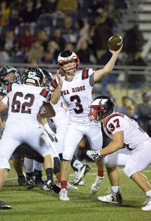 David Beach - Special to NWADG - Cole Wright of Pea Ridge passes the ball on a screen pass during the 1st quarter against Shiloh Christian at Champions Stadium. Springdale, AR on Friday, November 5, 2015.
