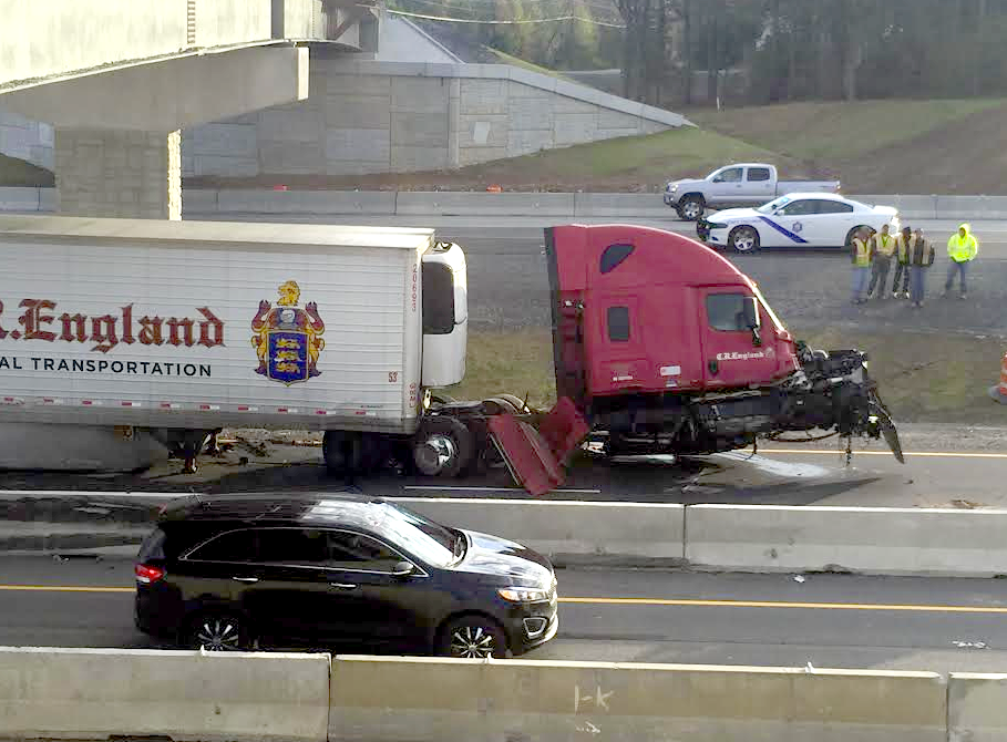 PHOTOS: Truck wreck blocks I-40 for hours