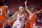 Arkansas' Kelsey Brooks (15) drives past Sam Houston State's Kamry Orr (2) on Sunday, Nov. 15, 2015, in Bud Walton Arena in Fayetteville.