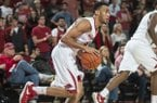 Arkansas guard Jabril Durham drives the ball against Southern on Friday, Nov. 13, 2015, at Bud Walton Arena in Fayetteville.