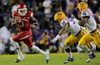 Arkansas' Alex Collins runs against LSU in the third quarter Saturday, Nov. 14, 2015, in Baton Rouge, La.