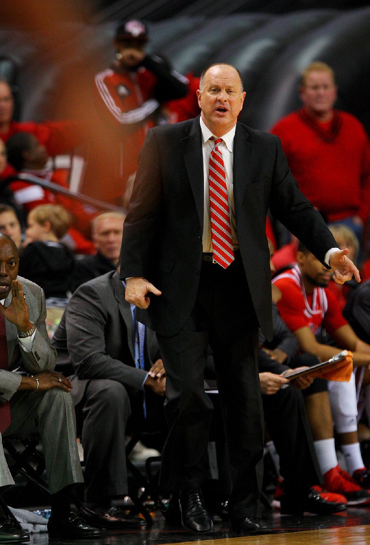 Arkansas State University's head basketball coach John ...